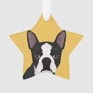 boston terrier cartoon ornament