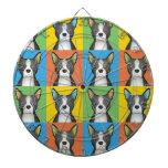 Boston Terrier Cartoon Pop-Art Dartboard With Darts
