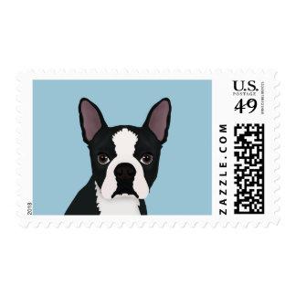 boston terrier cartoon stamp