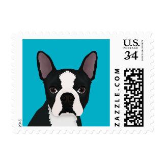 boston terrier cartoon stamps