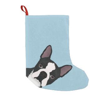 boston terrier cartoon small christmas stocking