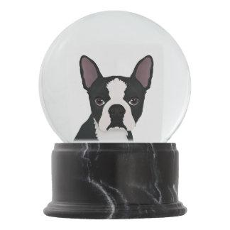 boston terrier cartoon snow globe