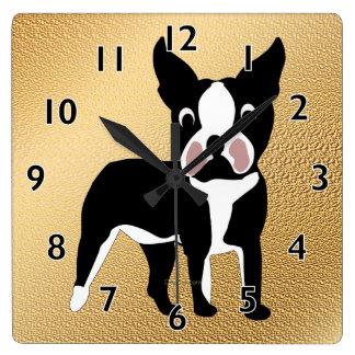 Boston Terrier Cartoon Square Wall Clock
