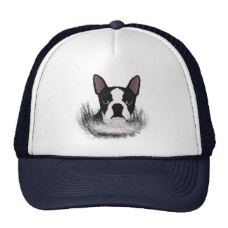boston terrier cartoon trucker hat