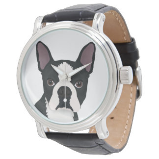 boston terrier cartoon wristwatch