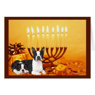 Boston Terrier Chanukah Card Menorah1