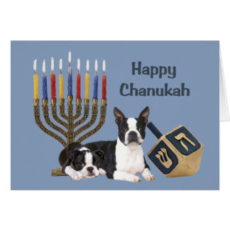 Boston Terrier Chanukah Card Menorah Dreidel1