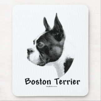 Boston Terrier Charcoal 2 Mouse Pad
