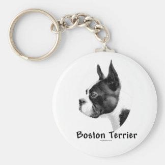 Boston Terrier Charcoal Keychain