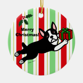 Boston Terrier Christmas 2 Cartoon Ceramic Ornament
