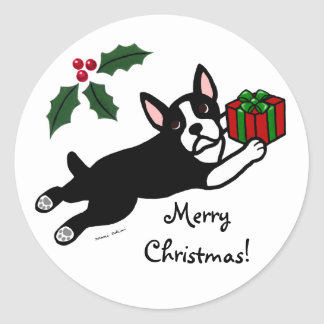 Boston Terrier Christmas 2 Cartoon Classic Round Sticker
