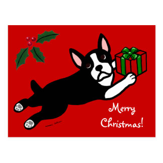 Boston Terrier Christmas 2 Cartoon Postcard