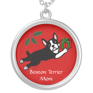 Boston Terrier Christmas 2 Cartoon Round Pendant Necklace