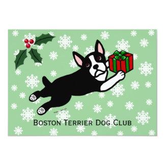 Boston Terrier Christmas 2 Cartoon Snowflakes Card