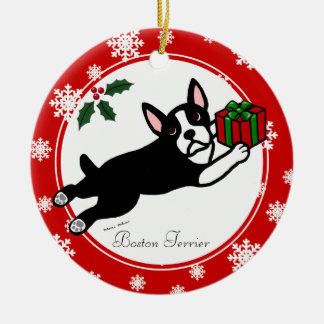 Boston Terrier Christmas 2 Cartoon Snowflakes Ceramic Ornament