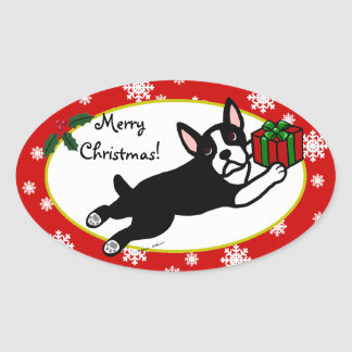 Boston Terrier Christmas 2 Cartoon Snowflakes Oval Sticker