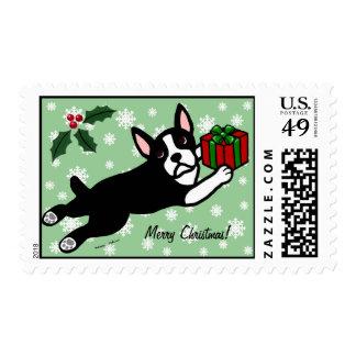 Boston Terrier Christmas 2 Cartoon Snowflakes Postage