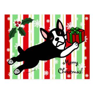Boston Terrier Christmas 2 Cartoon Snowflakes Postcard