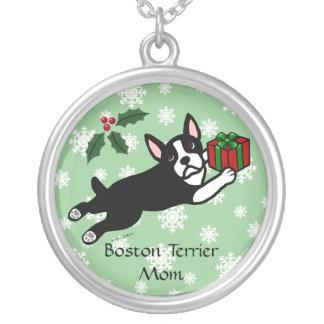 Boston Terrier Christmas 2 Cartoon Snowflakes Round Pendant Necklace