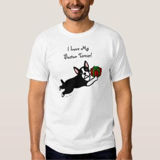 Boston Terrier Christmas 2 Cartoon T-Shirt