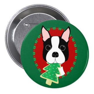 Boston Terrier Christmas 3 Inch Round Button