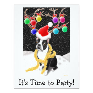 Boston Terrier Christmas 4.25x5.5 Paper Invitation Card
