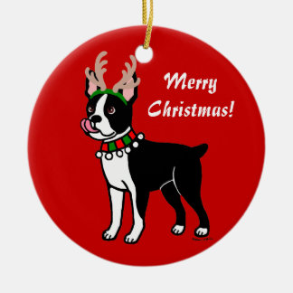 Boston Terrier Christmas Antlers Ceramic Ornament
