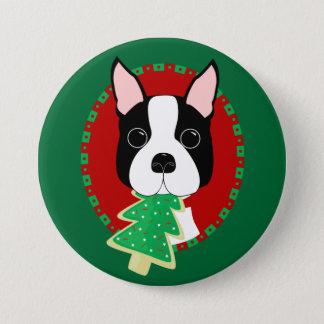 Boston Terrier Christmas Button