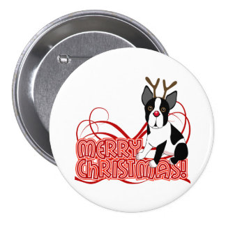 Boston Terrier Christmas Pinback Buttons