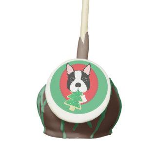 Boston Terrier Christmas Cake Pops