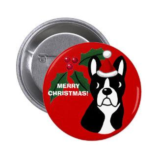 Boston Terrier Christmas Cartoon Pin