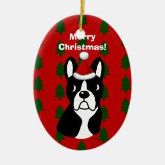 Boston Terrier Christmas Cartoon Ceramic Ornament