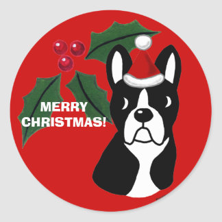 Boston Terrier Christmas Cartoon Classic Round Sticker