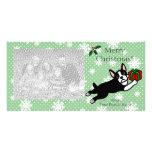 Boston Terrier Christmas Cartoon Photocards Card