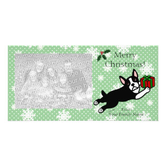 Boston Terrier Christmas Cartoon Photocards Card