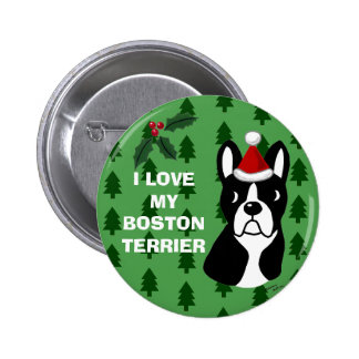Boston Terrier Christmas Cartoon Pinback Button