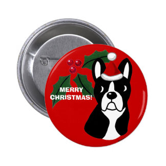 Boston Terrier Christmas Cartoon Pinback Button