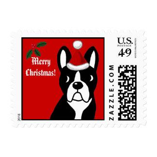 Boston Terrier Christmas Cartoon Postage