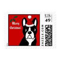 Boston Terrier Christmas Cartoon Postage Stamp