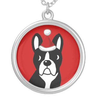 Boston Terrier Christmas Cartoon Round Pendant Necklace