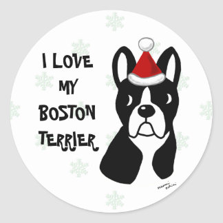 Boston Terrier Christmas Cartoon Snowflake Classic Round Sticker