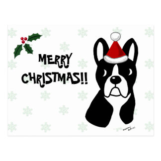 Boston Terrier Christmas Cartoon Snowflake Postcard