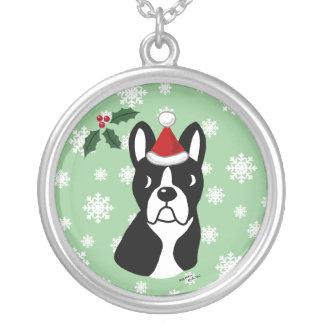 Boston Terrier Christmas Cartoon Snowflake Round Pendant Necklace