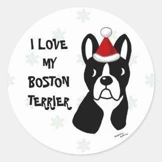 Boston Terrier Christmas Cartoon Snowflake Stickers