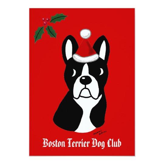 Boston Terrier Christmas Cartoon Snowflakes Card