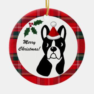 Boston Terrier Christmas Cartoon Tartan Ceramic Ornament