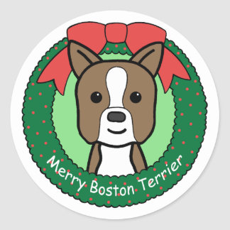 Boston Terrier Christmas Classic Round Sticker