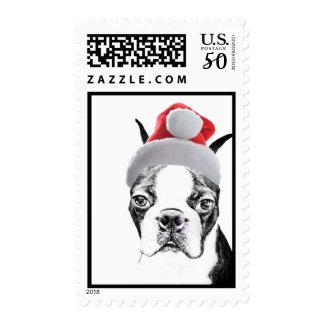 Boston Terrier Christmas dog Postage