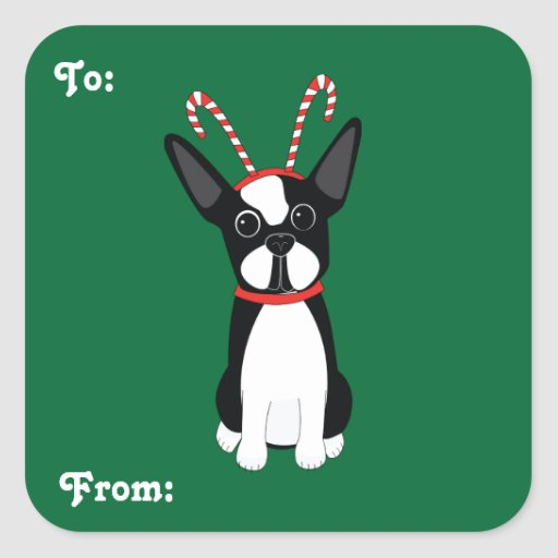 Boston Terrier Christmas Gift Stickers