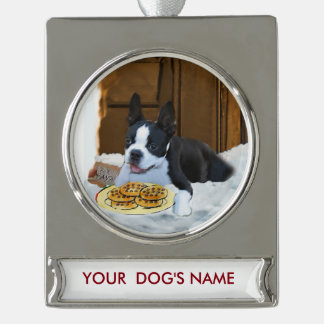 Boston Terrier Christmas Gifts Personalized Silver Plated Banner Ornament